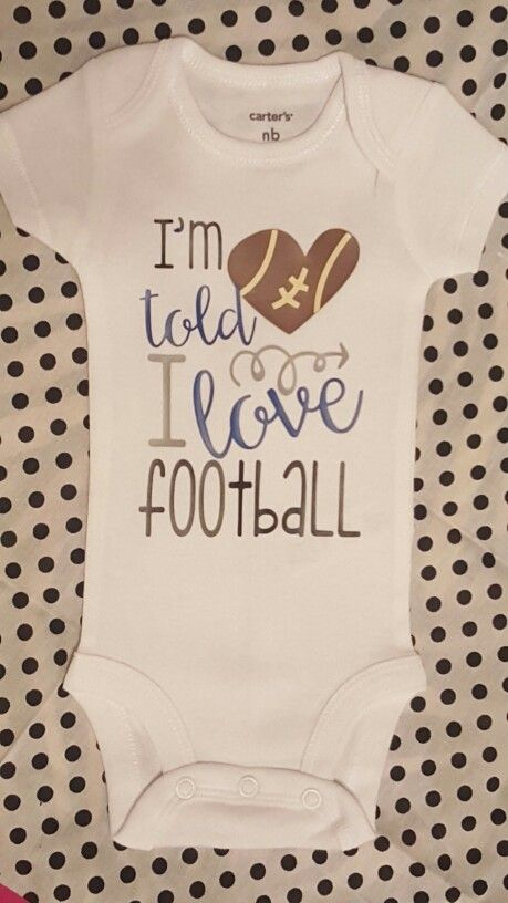 i u0026 39 m told i love football  heart  arrows  baby girl boy toddler tshirt onesie  college  nfl