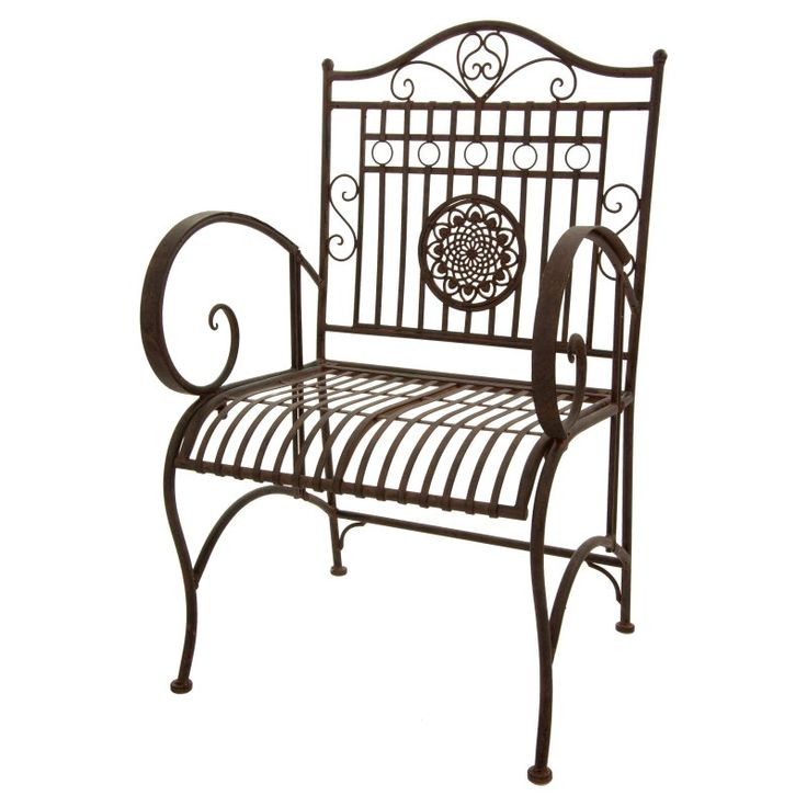 Outdoor Oriental Furniture Rustic Wrought Iron Patio Arm Chair - GF-CHAIR2-