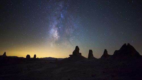 The Milky Way over Trona Pinnacles. Trona, California Poster Print (18 x 10)