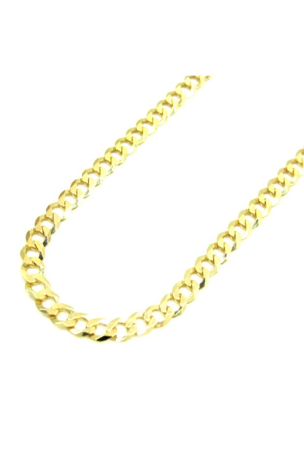 Mens Womens 10K Solid Yellow Gold Cuban Chain Necklace 3MM 16