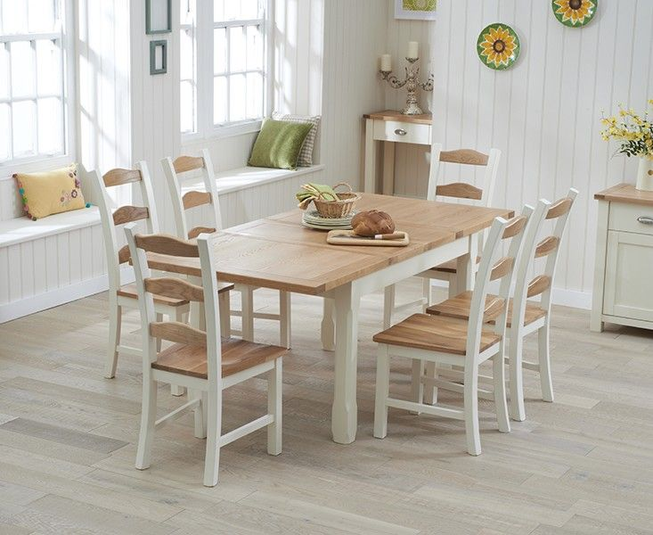 Somerset 130cm Oak and Cream Extending Dining Table with Chairs. Perfect for any dining occasion.