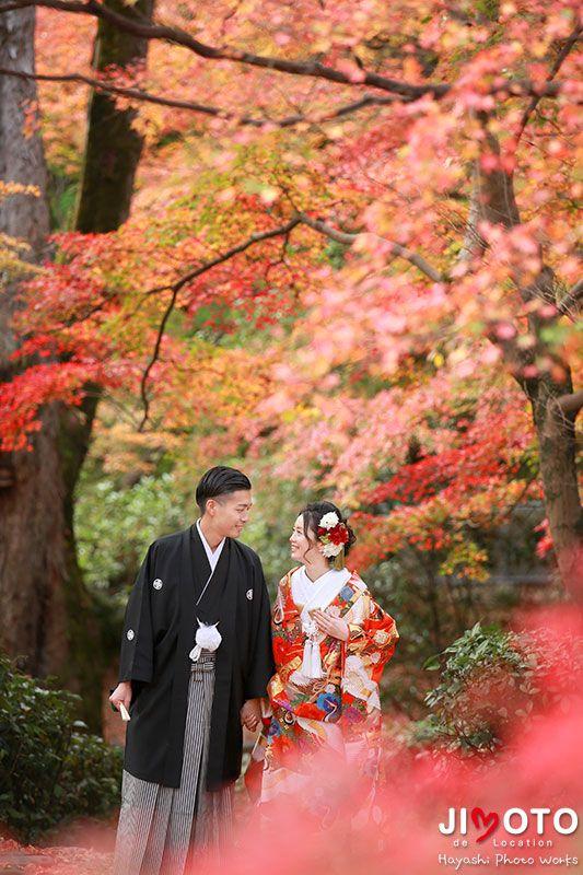京都での前撮りロケーション撮影を紅葉にて撮影しました。
