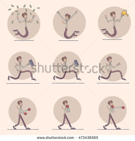 Vector modern flat design illustration on male business man in various poses.