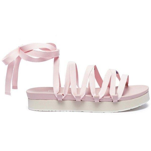 Pedro García x Temperley London 'Lara' lace-up ribbon platform sandals (3,125 CNY) ❤ liked on Polyvore featuring shoes, sandals, pink, platform shoes, pedro garcia shoes, ribbon lace up shoes, lace-up sandals and pink ribbon shoes