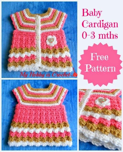 """My Hobby Is Crochet: Crochet baby cardigan """"Stripes and bubbles""""- Free Pattern:"""