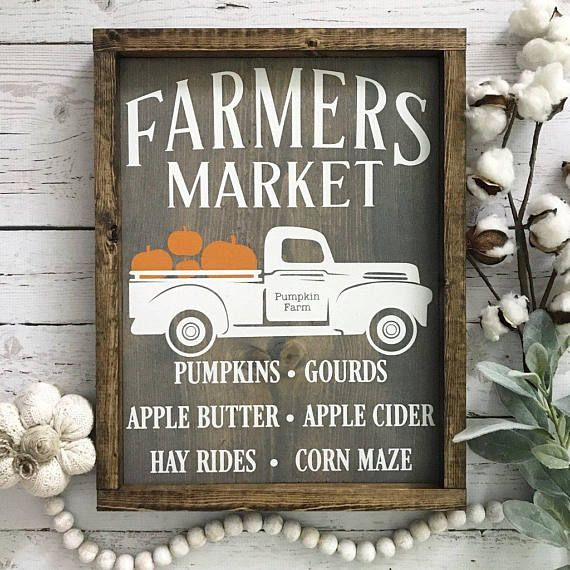 Fall Farmers Market Wood Sign Vintage Truck Sign Pumpkin