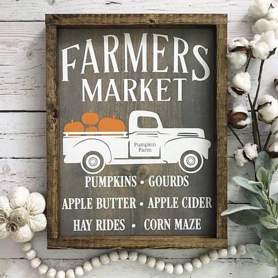 Fall Farmers Market Wood Sign Vintage Truck Sign Pumpkin