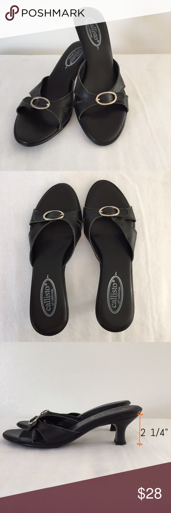 "Great summer heel- black Mid heel height (2 1/4"") sandals are never worn. Leather strap across toe with silver buckle. Wear with. Jeans, skirt, or poolside. Original box is not available. Callisto of California Shoes Sandals"