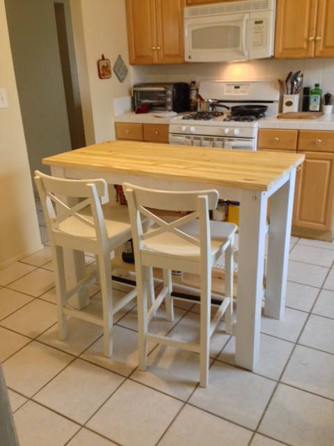 2 Half Shelves Kitchen Island With Seating For 3 Or 4