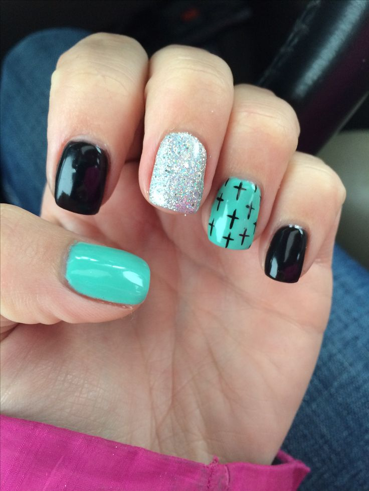 Cross nails turquoise and black *SR* www.TheLAFashion.com for Fashion insights and tips.
