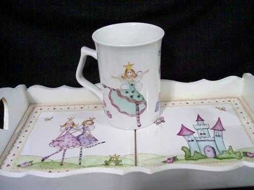 Porcelana Pintada A Mano Taza Cucharita Y Bandeja - $ 200,00