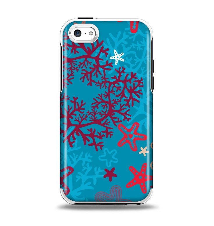The Colorful Blue and Red Starfish Shapes Apple iPhone 5c Otterbox Symmetry Case Skin Set
