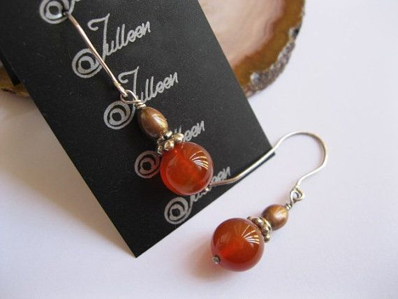 Red Carnelian and Bronze Gold Pearl Sterling Silver Earring - A Christmas Treat