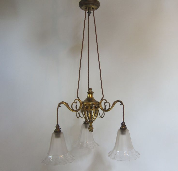 Small size English three arm ceiling light of stylish design and in the original gilt brass finish further complemented by satin and cut glass shades. www.antiquelightingcompany.com