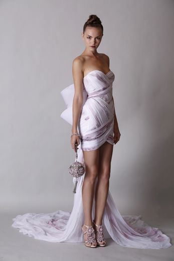 Pearl stain chiffon strapless dress with train and hand painted floral illustrations