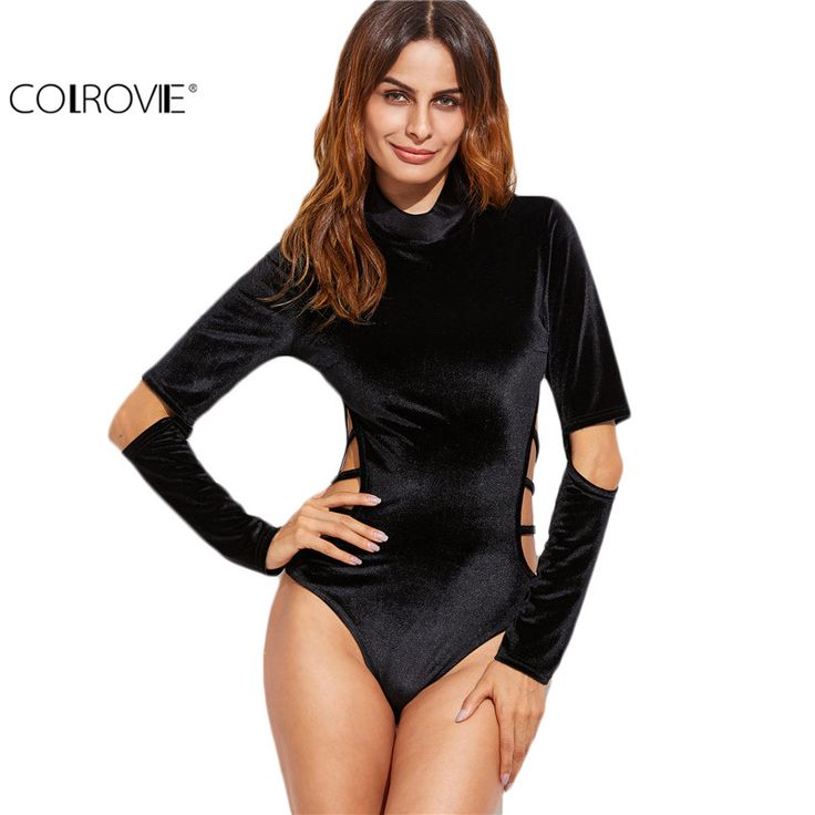 COLROVIE Long Sleeve Bodysuit Women Korean Fashion Romper Women Top Black Cowl Neck Strappy Cutout Velvet Bodysuit