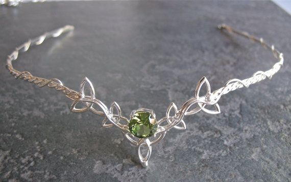 Wedding Bridal Celtic Headpiece Circlet, Trinity Knot Design, 10mm Faceted Gemstone, Sterling Silver Handmade