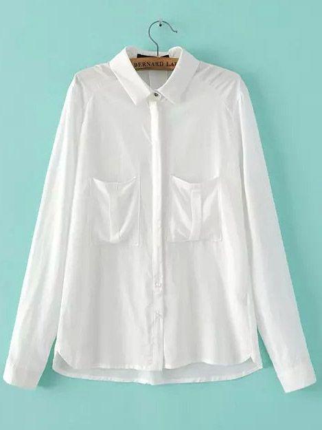 Blusa solapa manga larga bolsillos-(Sheinside)