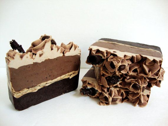 a lovely pretty gift for friends great to find an interesting luxurious looking toiletry gift on line suitable for vegan friends and family Cappuccino Delight  Coffee Soap  Vegan Soap  Cold by LullabySoaps
