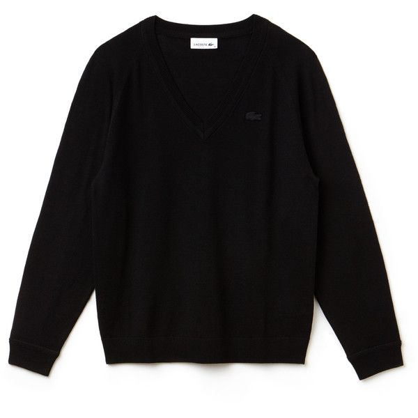 Black Women's v-Neck Wool Jersey Sweater (2,995 MXN) ❤ liked on Polyvore featuring tops, sweaters, lacoste tops, v neck sweater, raglan sweater, raglan sleeve top and raglan top