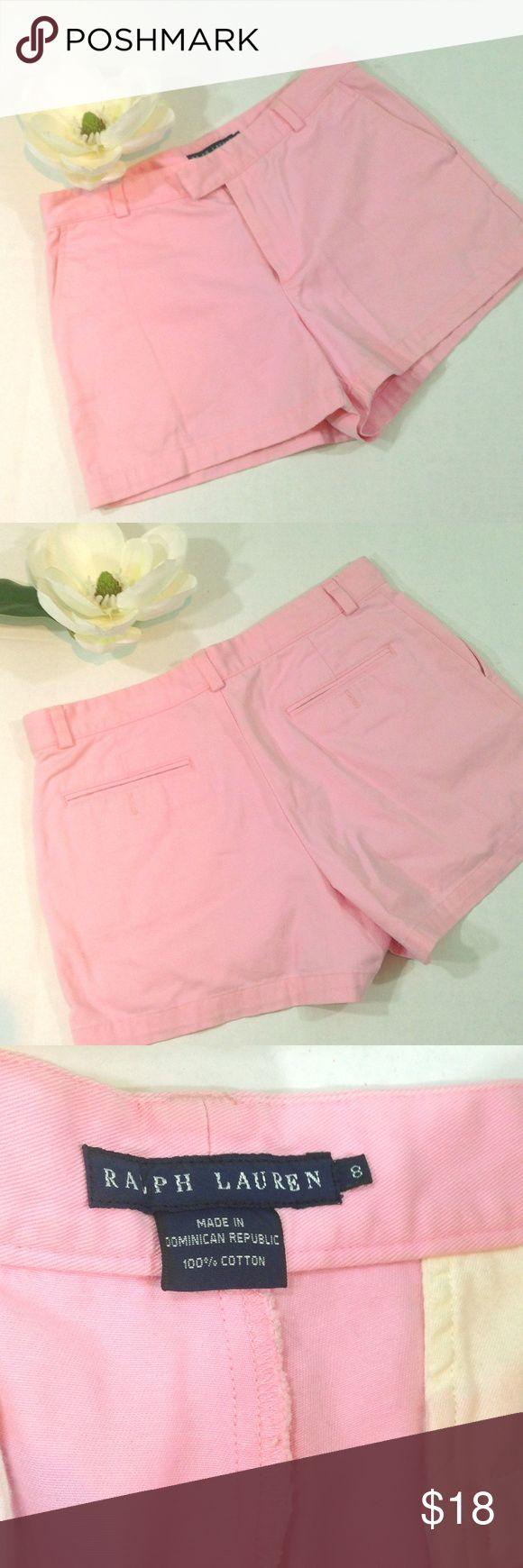 "Ralph Lauren Chino Pink Shorts Very cute Ralph Lauren pink chino shorts, side pocket, hook and button tab closure, flat lay measures a 16"" waist, 3"" inseam and a 13"" length. Ralph Lauren Shorts"