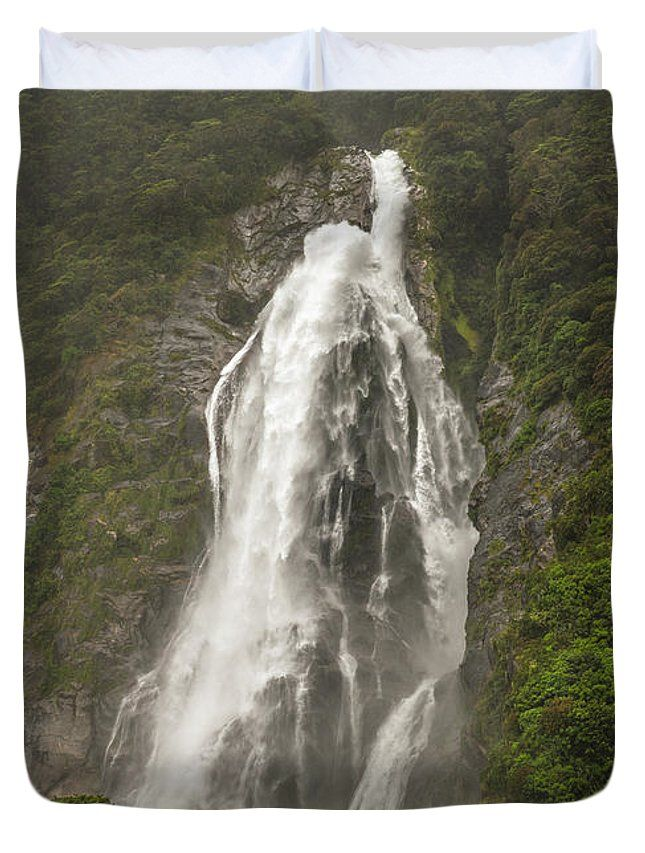 Milford Sound Duvet Cover featuring the photograph Wild New Zealand by Racheal Christian - Available in king, queen, full, and twin.  Our soft microfiber duvet covers are hand sewn and include a hidden zipper for easy washing and assembly.  Your selected image is printed on the top surface with a soft white surface underneath.  All duvet covers are machine washable with cold water and a mild detergent.