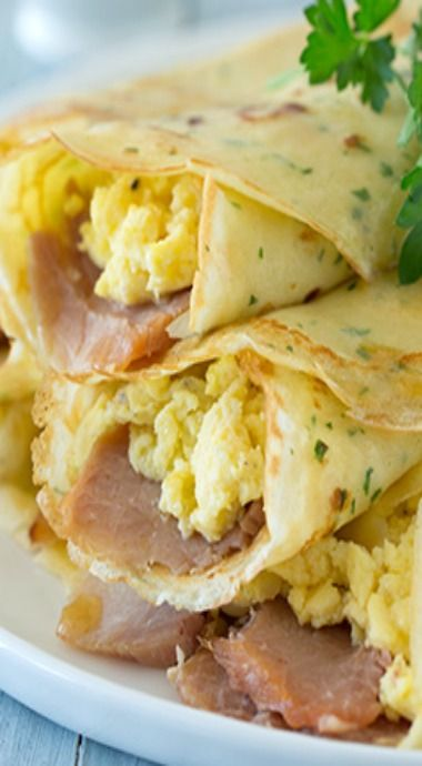 Herb Crepes with Eggs, Swiss Cheese, Ham, and Browned Butter.