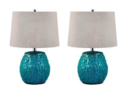 Aqua Floral Terracotta Table Lamps - Set of 2
