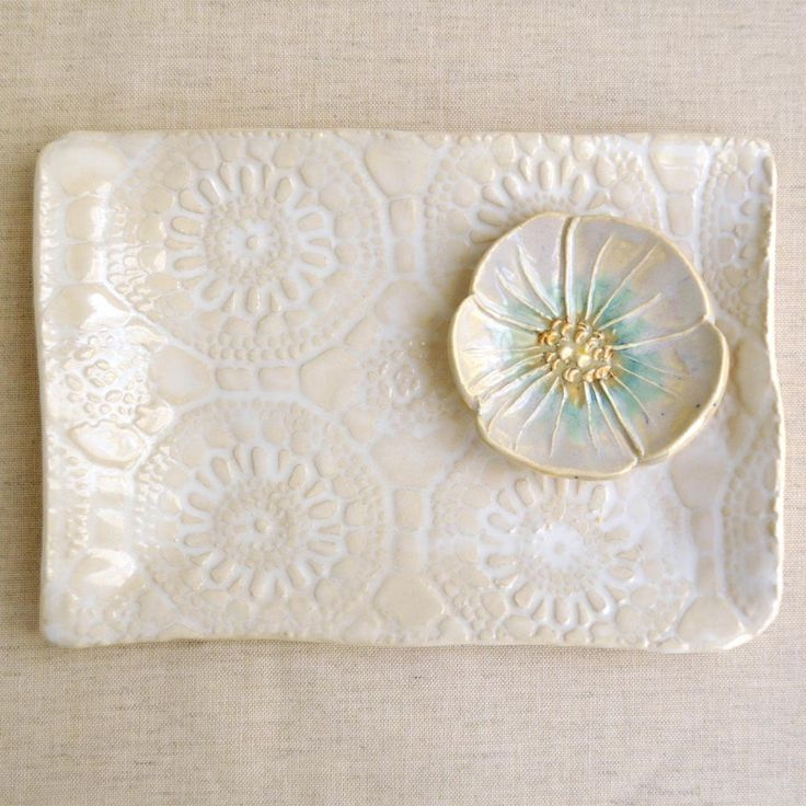 "Modern Ceramic serving tray White platter Hand Built ceramic platter lace pottery 10"". $24.00, via Etsy."