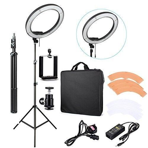 """EACHSHOT ES240 Kit {Including Light Stand Phone Clamp Tripod Head }240 LED 18"""" Stepless Adjustable Ring Light Camera Photo/Video Portrait photography 5500K Dimmable (Light Stand Included)"""