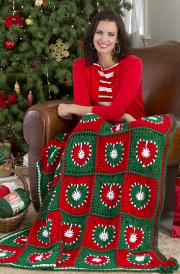 Red Heart® Holiday Hearts Throw #christmas #crochet #pattern