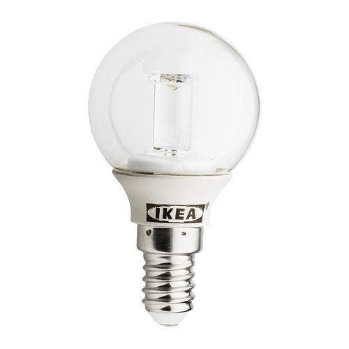 IKEA LEDARE - LED bulb E14, globe clear - 90 lm Ikea http://www.amazon.co.uk/dp/B00GMMCBW0/ref=cm_sw_r_pi_dp_dQiowb047SKVP