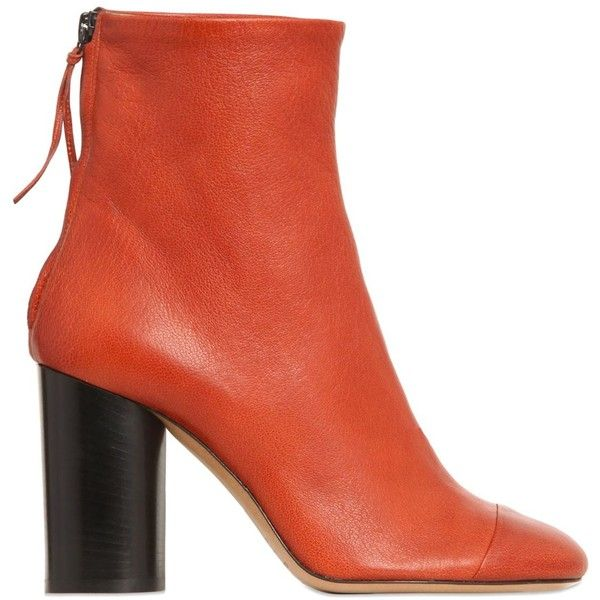 ISABEL MARANT 90mm Grover Leather Ankle Boots (1,360 CAD) ❤ liked on Polyvore featuring shoes, boots, ankle booties, tan, leather ankle booties, ankle boots, high heel booties, leather booties and tan boots