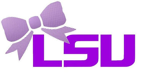 """LSU with Bow Decal for Laptop, Tablet, Notebook, Car - Choose 3"""", 4"""", 5"""" or 6"""" - Choose LSU Color & Bow Color"""