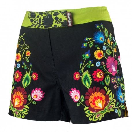 Athletic shorts women FOLK. Color: black with colorful flowers. Ultra-Lightweight shorts for women with a specially woven polyester fiber with rip-stop technique. Extremely durable with very low basis weight. Flexible fabric allows for matching of the product during intensive training. Pleasant to the touchand do not absorb moisture and lose their color due to UV radiation.