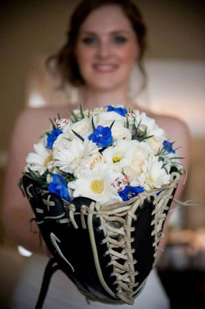 Baseball Rose Bridal Bouquet.  Order you baseball roses from SportsThemedWeddings.com!  #baseballwedding #stwdotcom