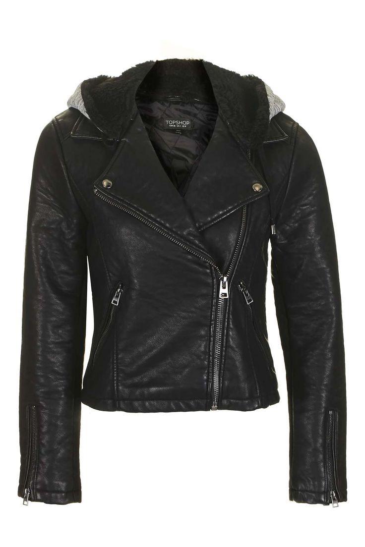 Hooded Faux Leather Biker Jacket