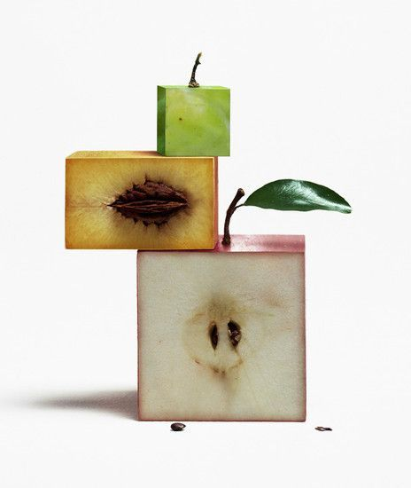 The fruits are no longer in their natural shape. They have been turned into cubes to make them more uniform which makes them relate to order, however, the fact that they are no longer their natural shape and seem unnatural makes them related to disorder as well.