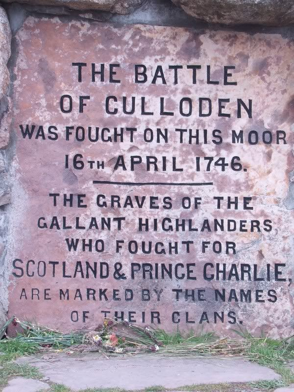Inscription on the Battle of Culloden Memorial Cairn- this is in the 8 book series by Diana Gabaldon, 1st one called the Outlander. It's a very interesting series, can't wait for the last last one due out end of 2012.
