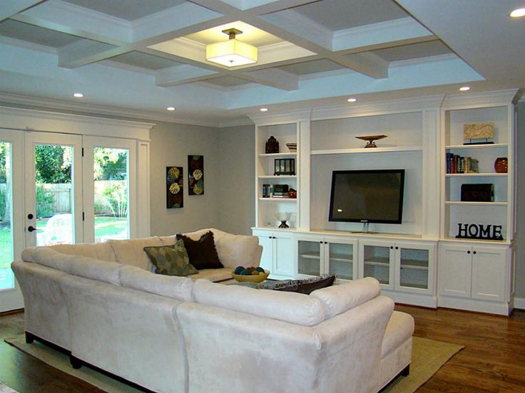 Perfect living room layout for our house. Small coffered ceiling, built-ins for TV, recessed lighting