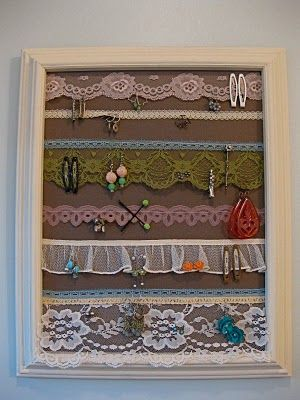 Lace Earring Holder: Lace Jewelry, Bows Holders, Jewelry Display, Lace Earrings, Earrings Holders, Jewelry Holders, Hair Clip, Diy Earrings, Hairclip