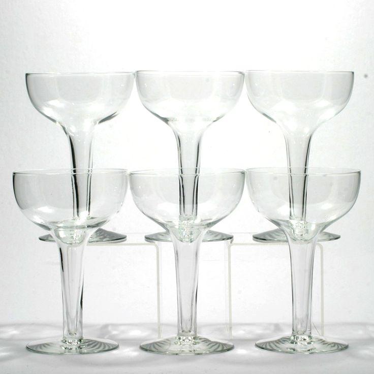 Vintage hollow stem saucer champagne glasses 1920s set 6 wine and champagne glasses - Champagne flutes hollow stem ...