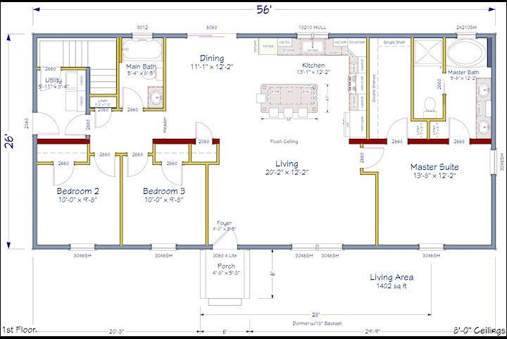 Houses Floor Plans, Floor Plans Ideas, Barndominium Floor Plans, House ...