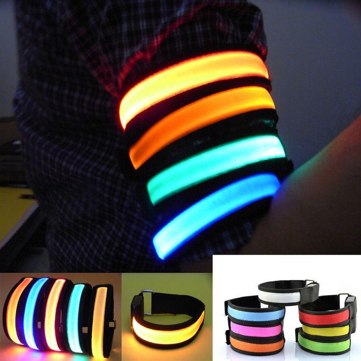 NEW LED light wristband Clip bracelets Light Night Safety Warning Bright Flash Light  running arm Bracelet cycling led brazalete