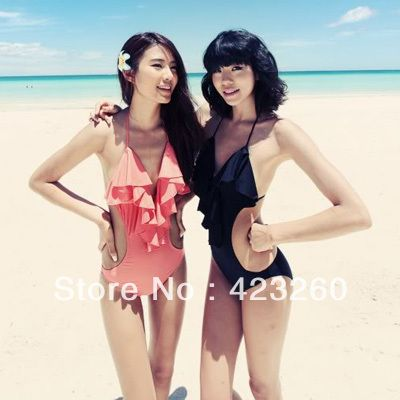 New Backless Sexy Swimsuit Ruffle Monokini Swimming Beach Bikini Swimwear SL00103 Free Shipping Dropshipping