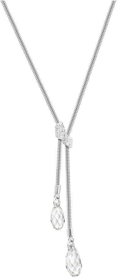 Swarovski Gillian Y Necklace, White, Rhodium plating