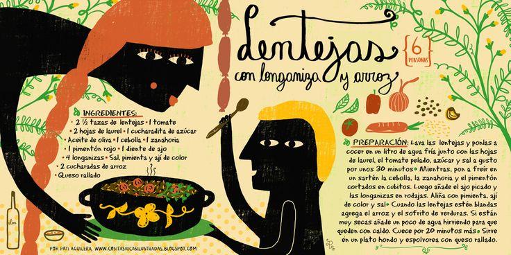 Cositas Ricas Ilustradas por Pati Aguilera: Lentejas con longaniza y arroz Mi receta favorita!