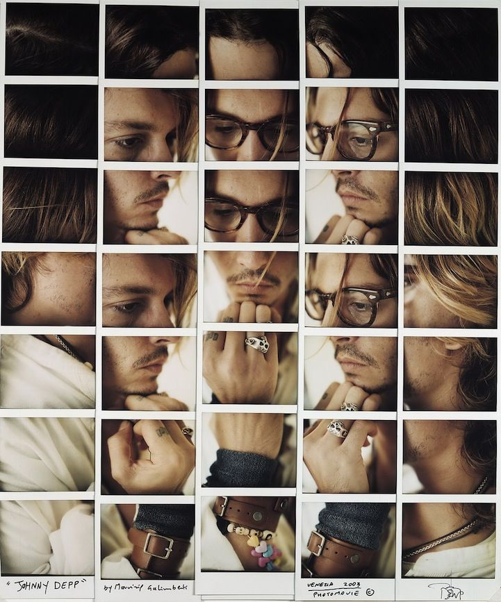Johnny Depp. Photographer Maurizio Galimberti is a master of the Polaroid picture. In his Celebrity Works, he develops unique celebrity portraits that feature grid-like arrangements of photographs.