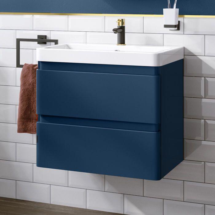 600mm Denver Ii Matte Blue Built In Basin Drawer Unit Wall Hung Drawer Unit Blue Bathroom Bathroom