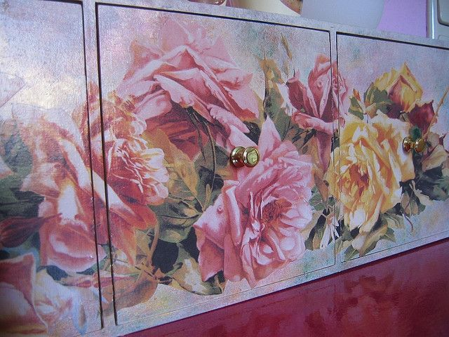 Decoupage furniture:  Moppe detail by swamp dragon, via Flickr